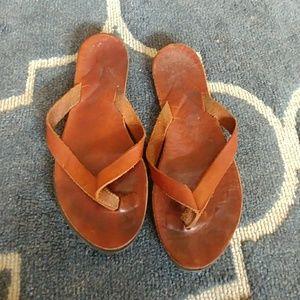 Jcrew brown leather flip flops